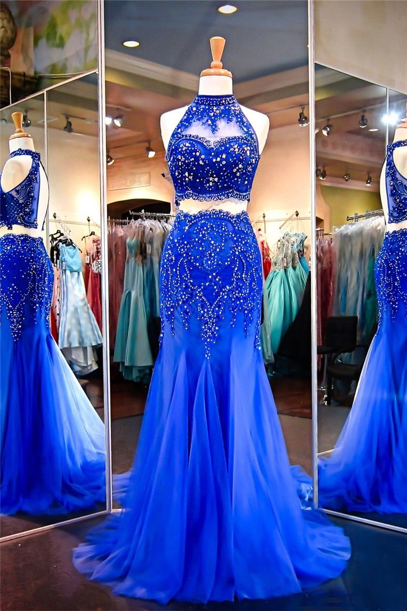 Mermaid Halter Keyhole Back Royal Blue Tulle Lace Beaded Two Piece Prom Dress Piece Prom Dress Prom Dresses Dresses [ 1200 x 800 Pixel ]