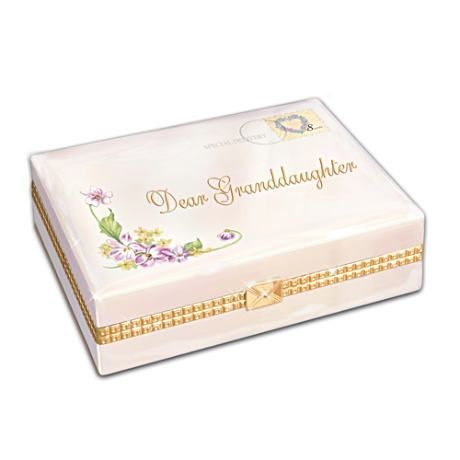 "Granddaughter Jewelry Box Brilliant Porcelain Music Boxes  Dear Granddaughter"" Porcelain Music Box For Review"