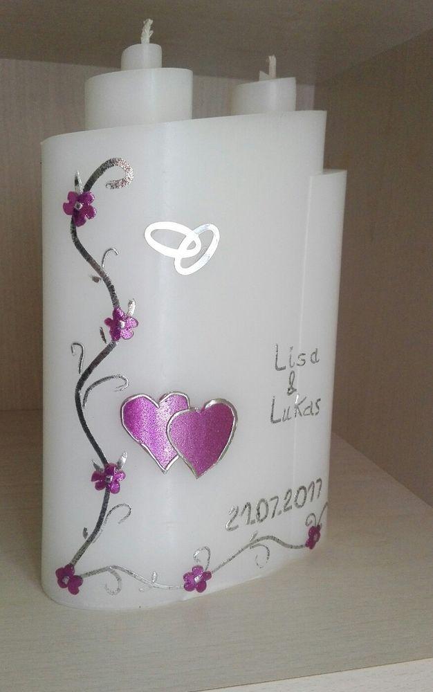 Hochzeitskerze Lila Silber Hochzeitsgeschenk Kerze Sonderform