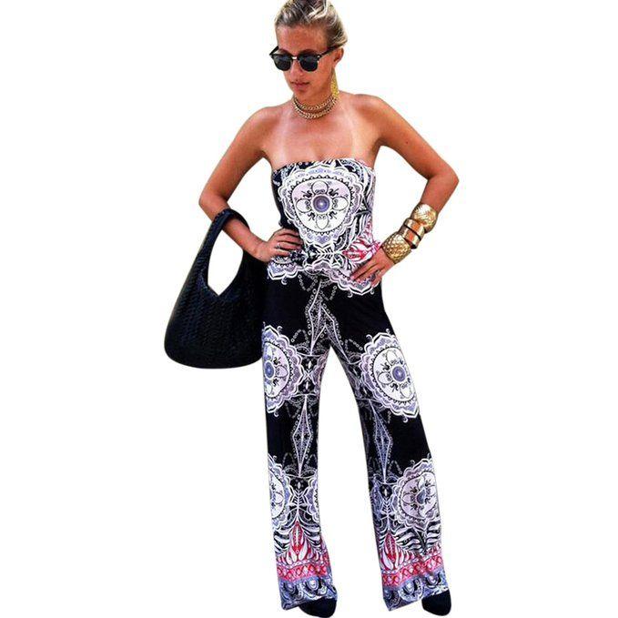 ZHU Women Floral Print Strap Bandeau Jumpsuit Ladies Summer Wide Leg Palazzo Trouser