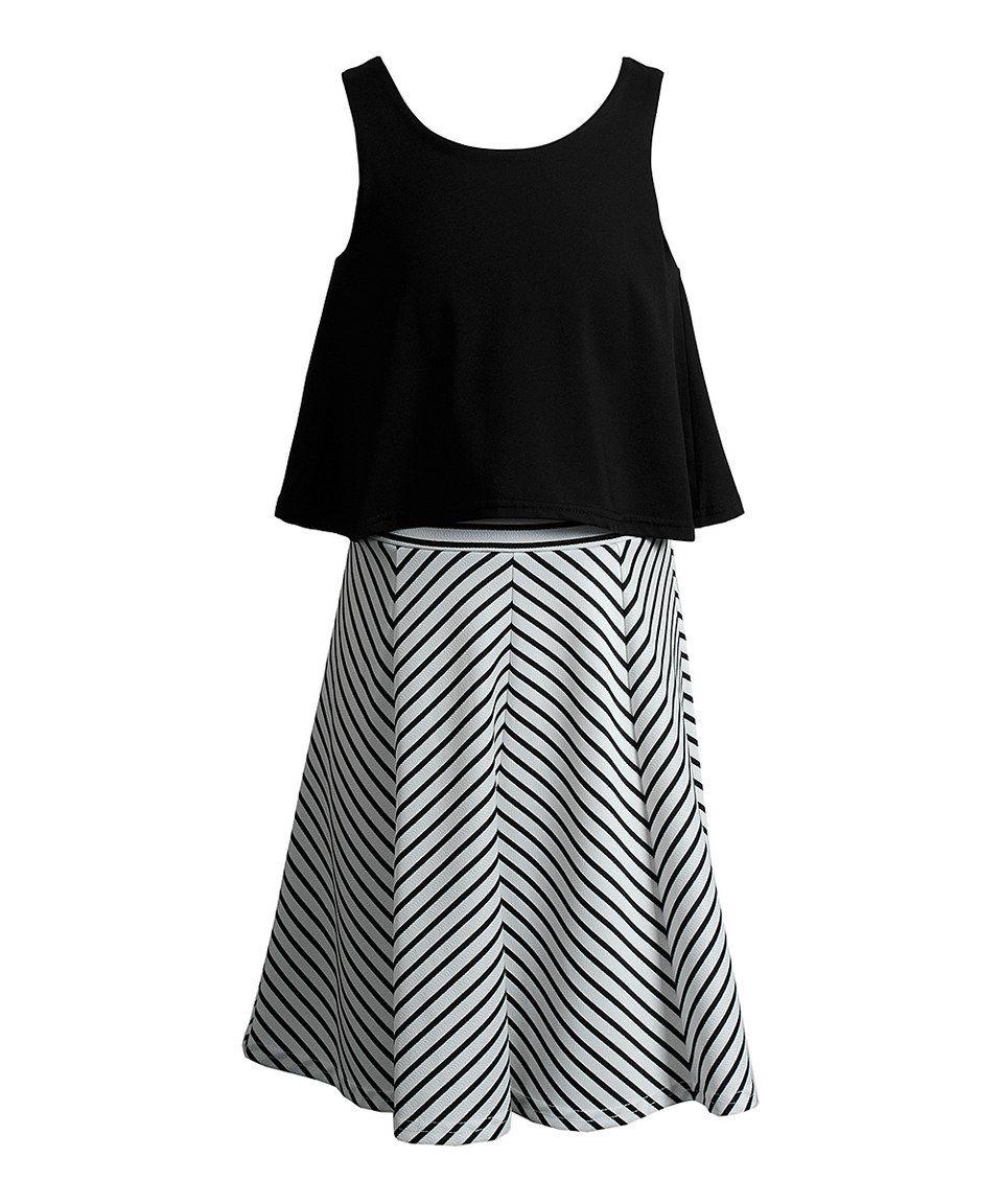 Emily West Black & White Stripe Cutout Dress - Tween | Cutout ...