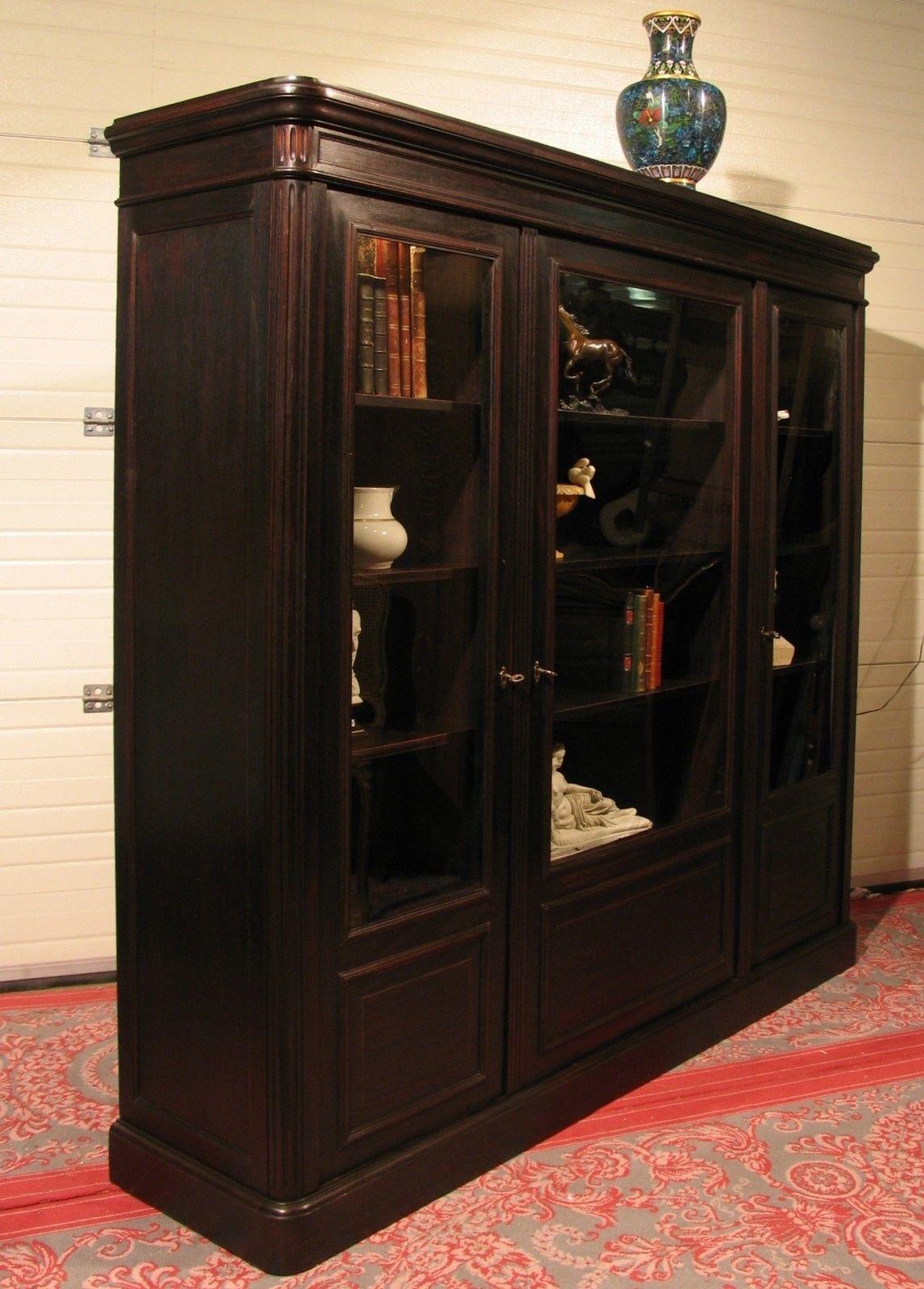 Ancienne Bibliotheque En Acajou Patine Noircie Vitrine Cabinet De