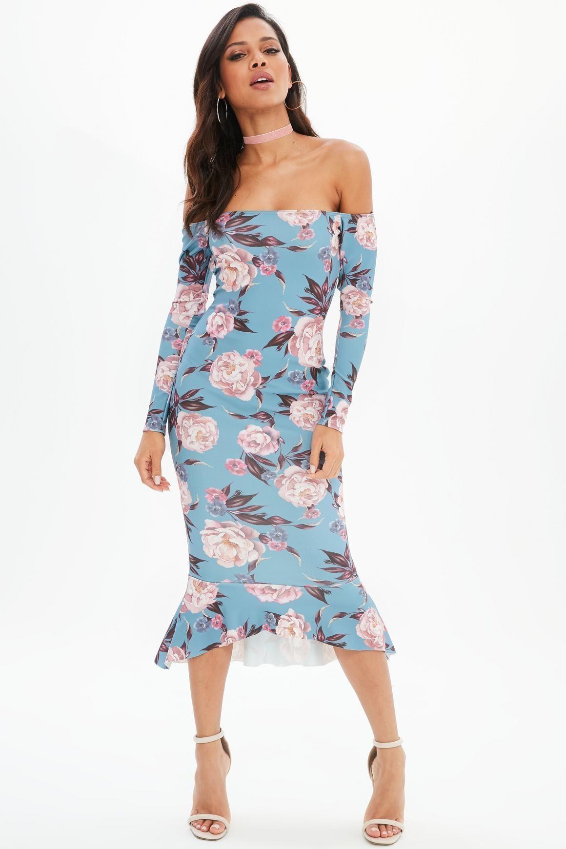 98c737e7ecb3 Missguided - Blue Floral Print Bardot Fishtail Midi Dress | My Life ...