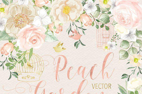 VECTOR Watercolor Rose Peach Garden by designloverstudio on @creativemarket