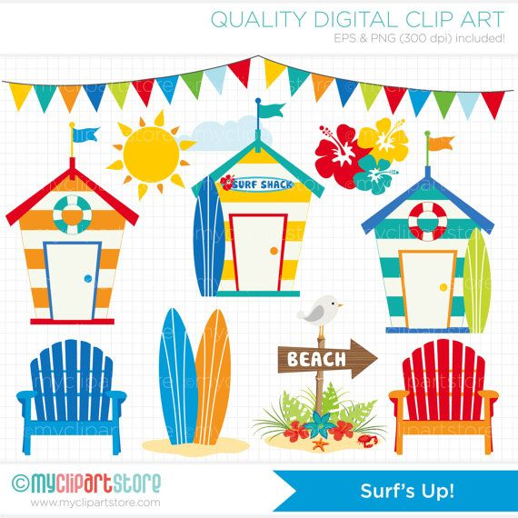 3b870058ee619 Clipart Surfing   Surfs Up   Beach Digital by MyClipArtStore