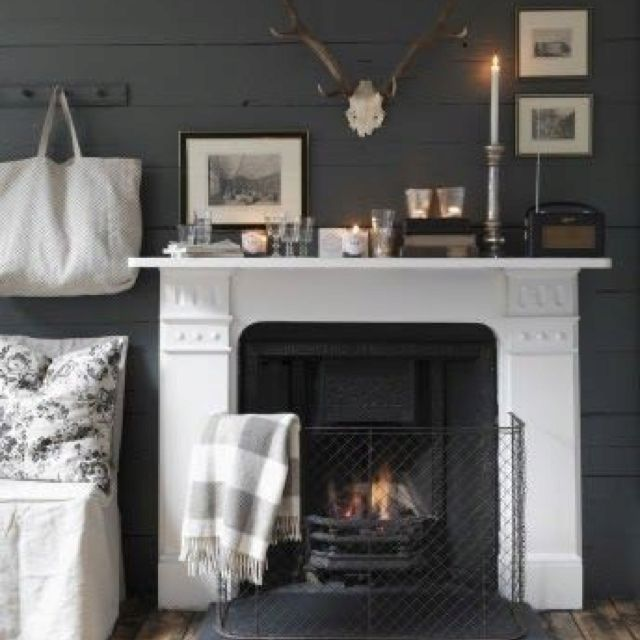 Best White Fireplace Charcoal Wall With Images White 400 x 300