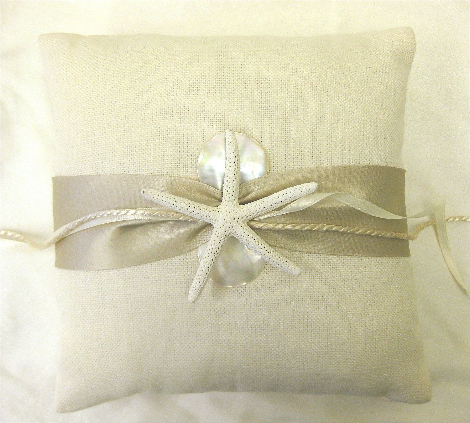 Wedding Ring Bearer Pillow with Starfish and Mother of Pearl for ...