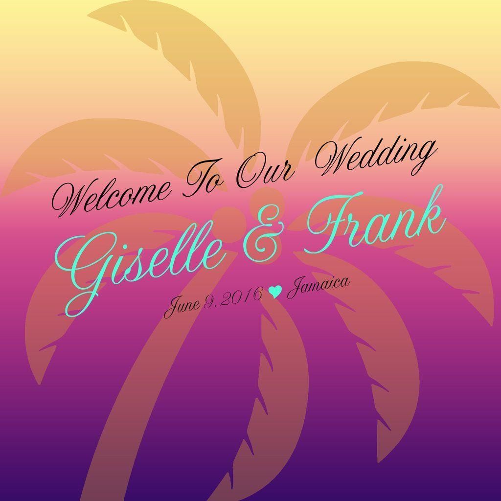 sku451) Custom palm tree wedding welcome bag label | Beach ...