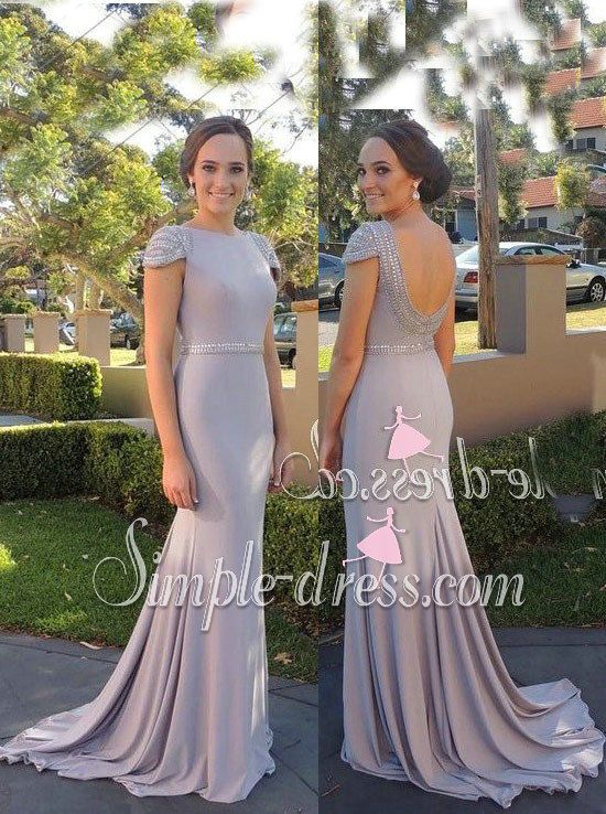 prom dress, 2016 prom dress, capped sleeve prom dress, evening dress, wedding party dress