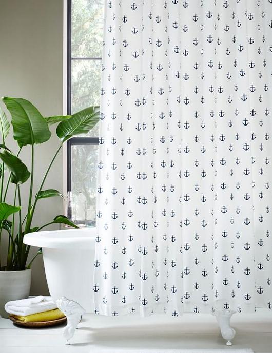 Anchor Print Shower Curtain | Bathrooms | Pinterest | Anchor print ...