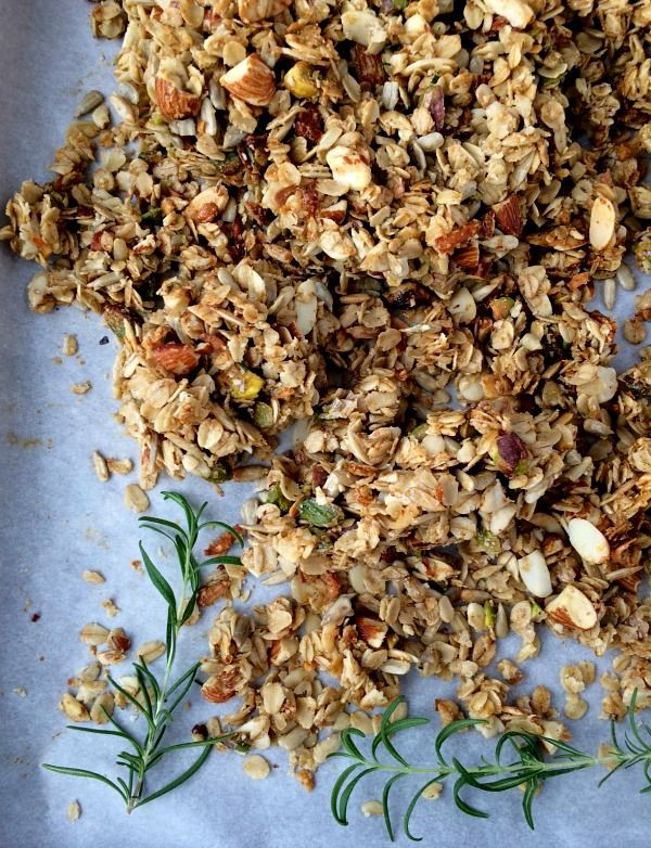 Parmesan Rosemary Savory Granola - This has the demeanor of your favorite crackers with better flavor. It's great added to creamy soups, crisp salads, snack platters or eaten by the fistful.