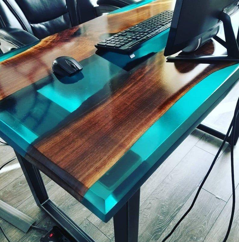 Metal Table Legs - U Style - Adjustable Leveling Feet - Set of Two - Resina - Holz Ideen