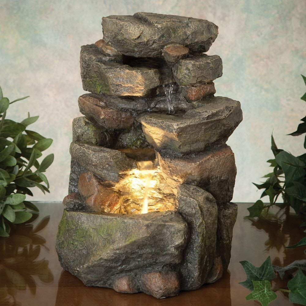 Bits And Pieces 11 25 Inch Indoor Tiered Rock Fountain With Led