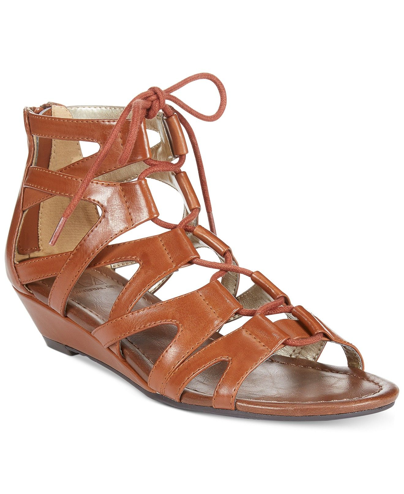 Material Girl Opera Lace Up Ghillie Demi Wedge Sandals - Juniors - Macy's