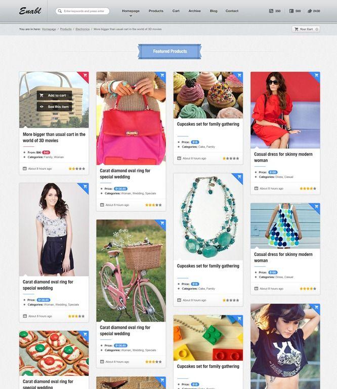 A responsive e-commerce Wordpress template. Looks like Pinterest ...