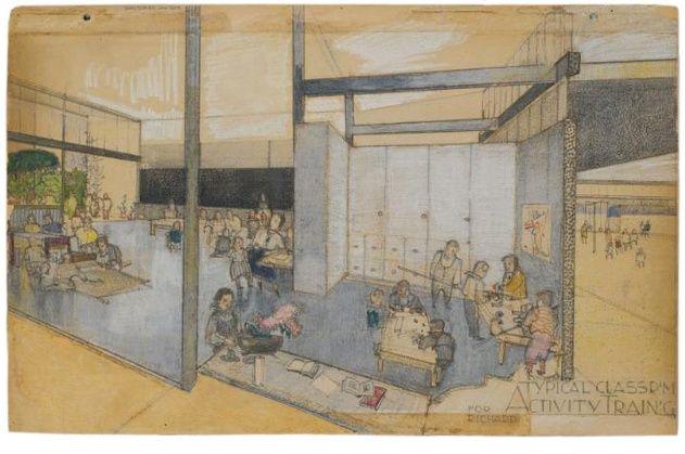 Best Interior Design Schools In California Painting richard neutra, experimental unit of the corona avenue school