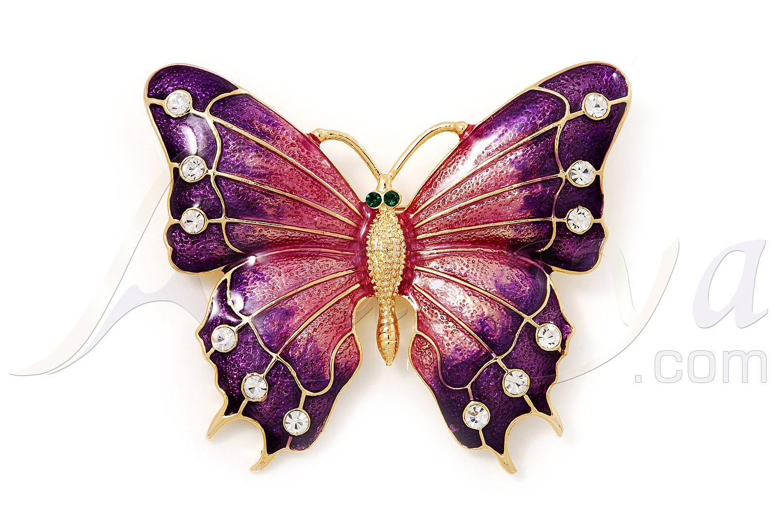 Nice Oversized Deep Purple Enamel Butterfly Brooch (Gold Tone Metal)    Avalaya.com