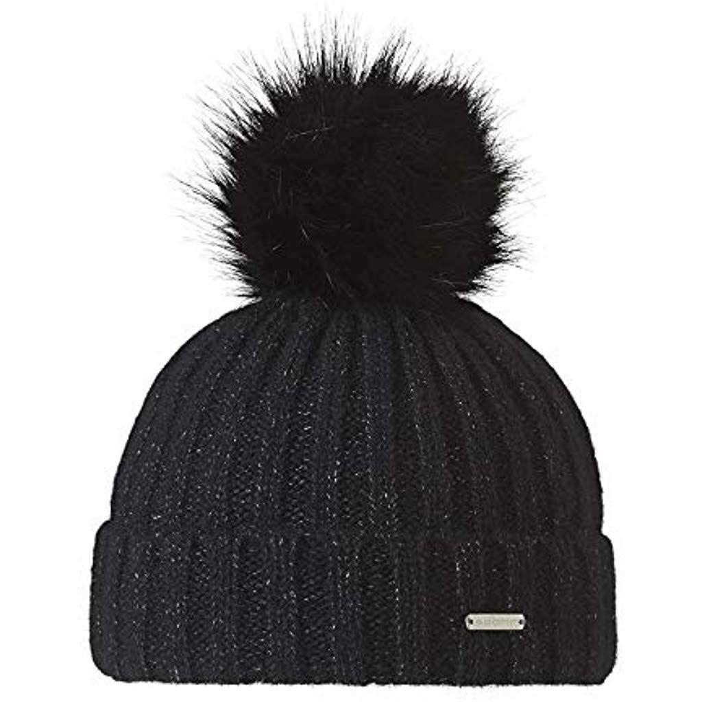 1e86ab6abdb CASPAR MU177 Bonnet en tricot doublé pour femme - bonnet avec torsades et  gros pompon en fausse fourrure  casquettes …