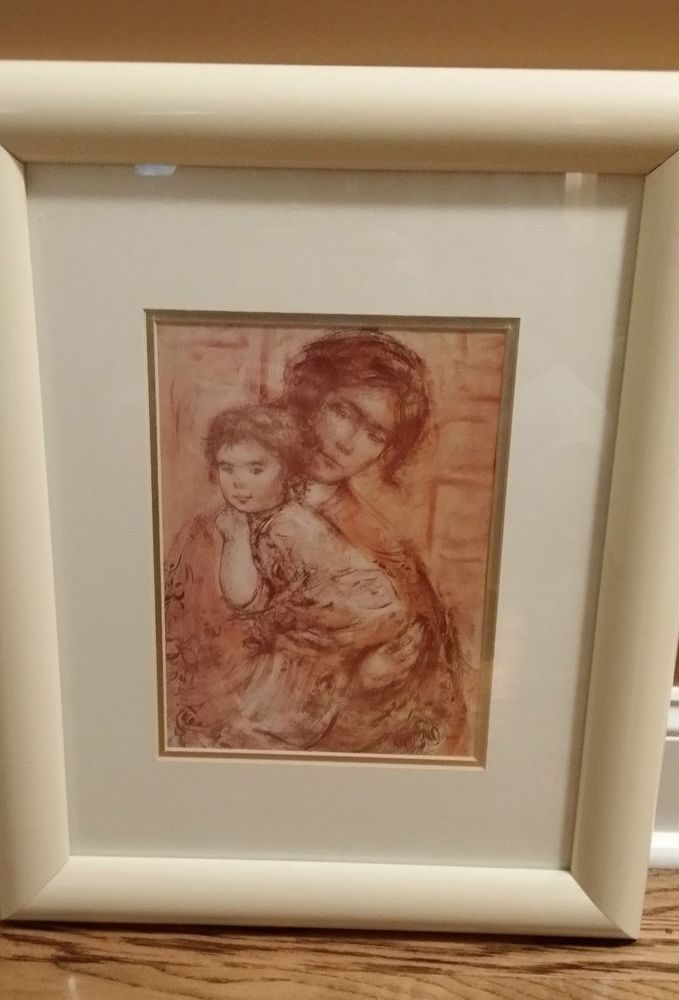 Vintage Antique Original Framed Signed Edna Hibel Mother Baby Lithograph Child #Print #VintagePictures