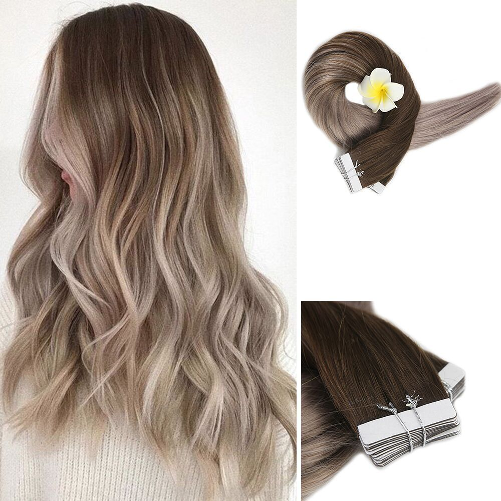 Ash Blonde Ombre Human Hair Extensions Of Tape In Hair Extensions