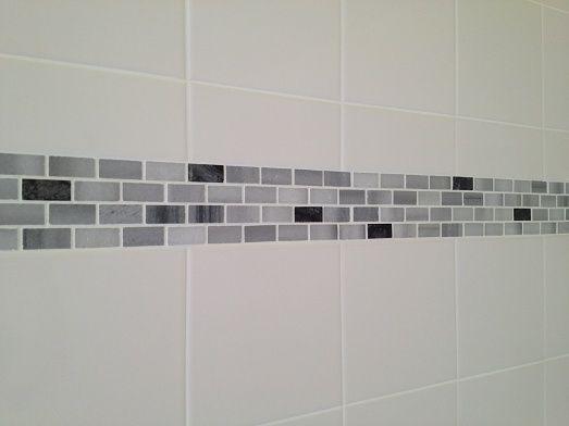 Palm Harbor Florida Tub Bath Shower 6x6 White Wall Tile With A Marble Mosaic Accent Band Ed Image By Bathroom Shower Walls Shower Tile White Tile Backsplash