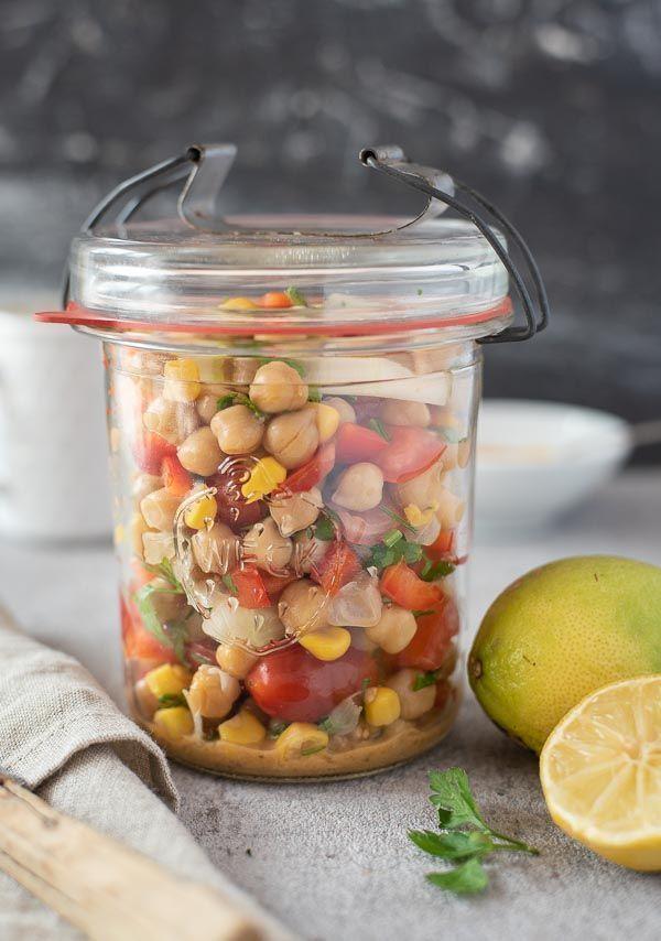 Chickpea salad with tahini lemon dressing - -