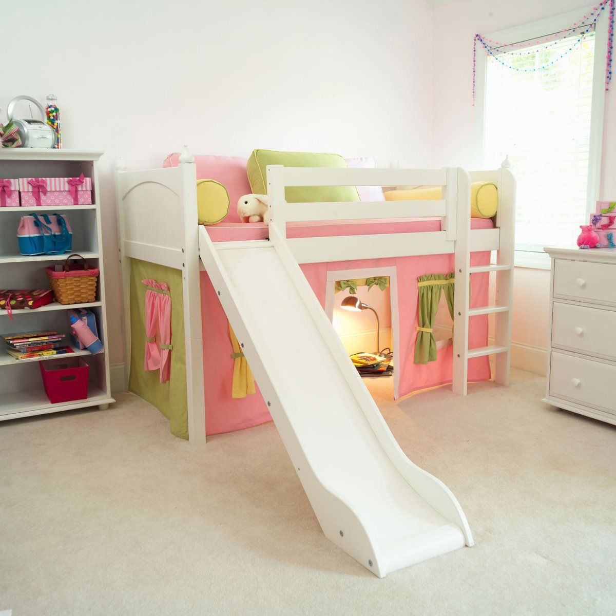 Marvelous Girl Tent Low Loft with Slide - Kids Beds at Kids Furniture Mart - Obviously I would get the boy version. & Too cute to not pin!! Marvelous Girl Tent Low Loft with Slide ...
