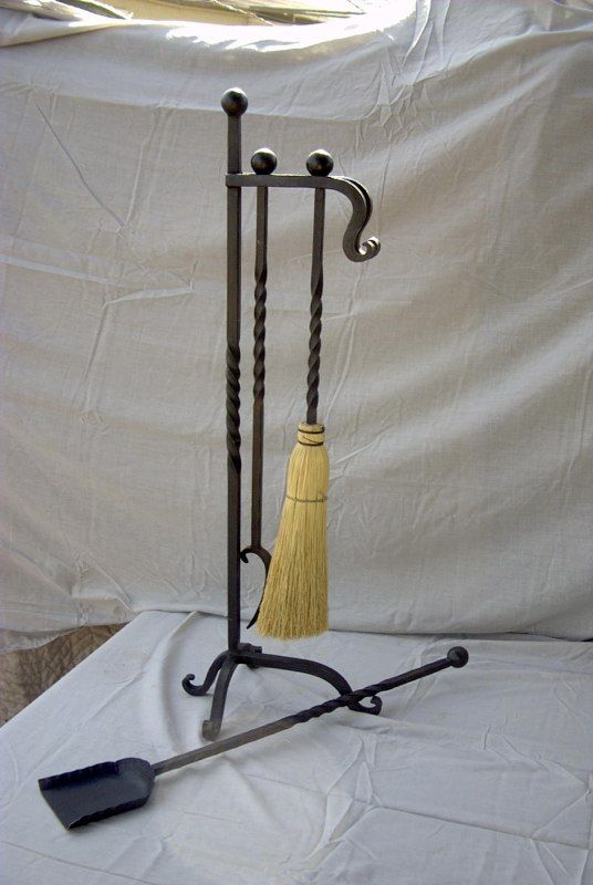 Twisted Handle With Scrolled Feet Fireplace Tools