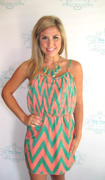 Teal Teardrop Necklace $29.50  Peach and Green Zig Zag Dress $48.75  Click to Purchase:  http://www.facebook.com/photo.php?fbid=444786005545369=a.434009026623067.106413.151557818201524=1