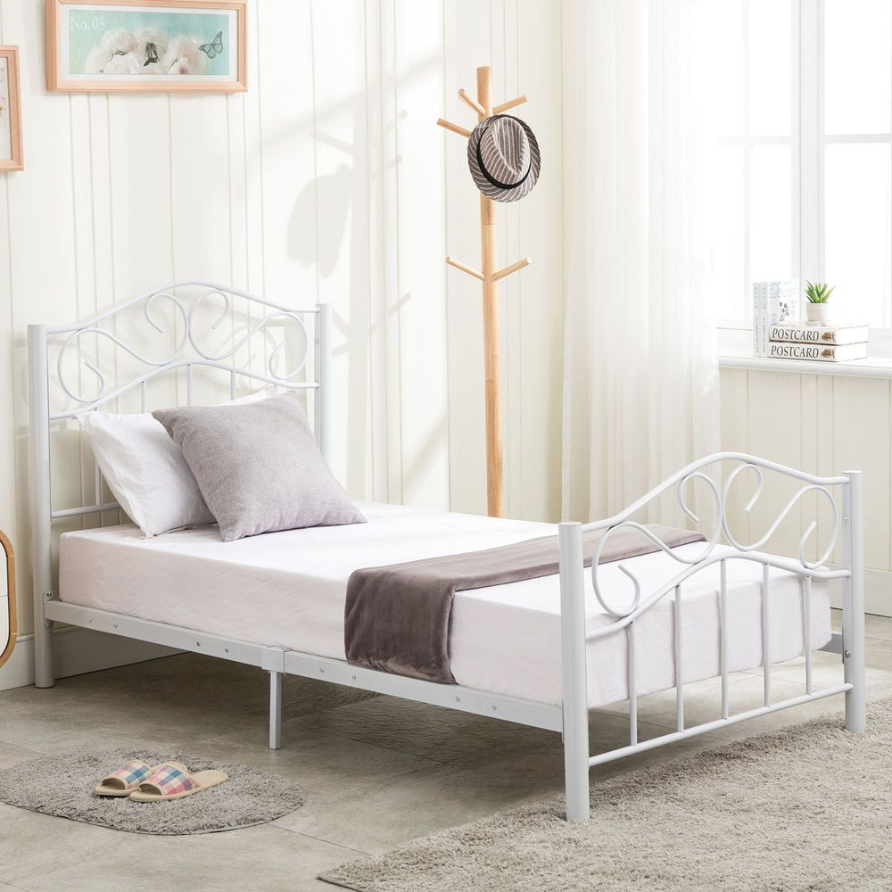 Twin Size Metal Bed Frame Steel Heavy Duty Headboard Footboard
