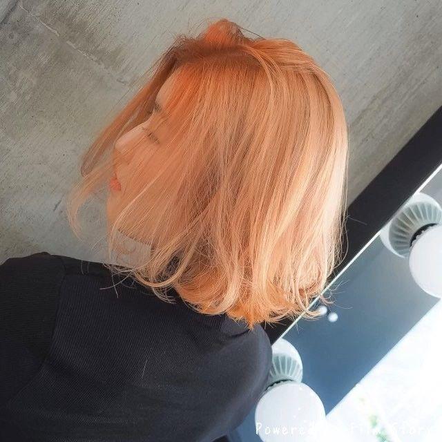 シャーベットオレンジ 切りっぱなしボブ 担当 Moriyoshi Moriyoshi