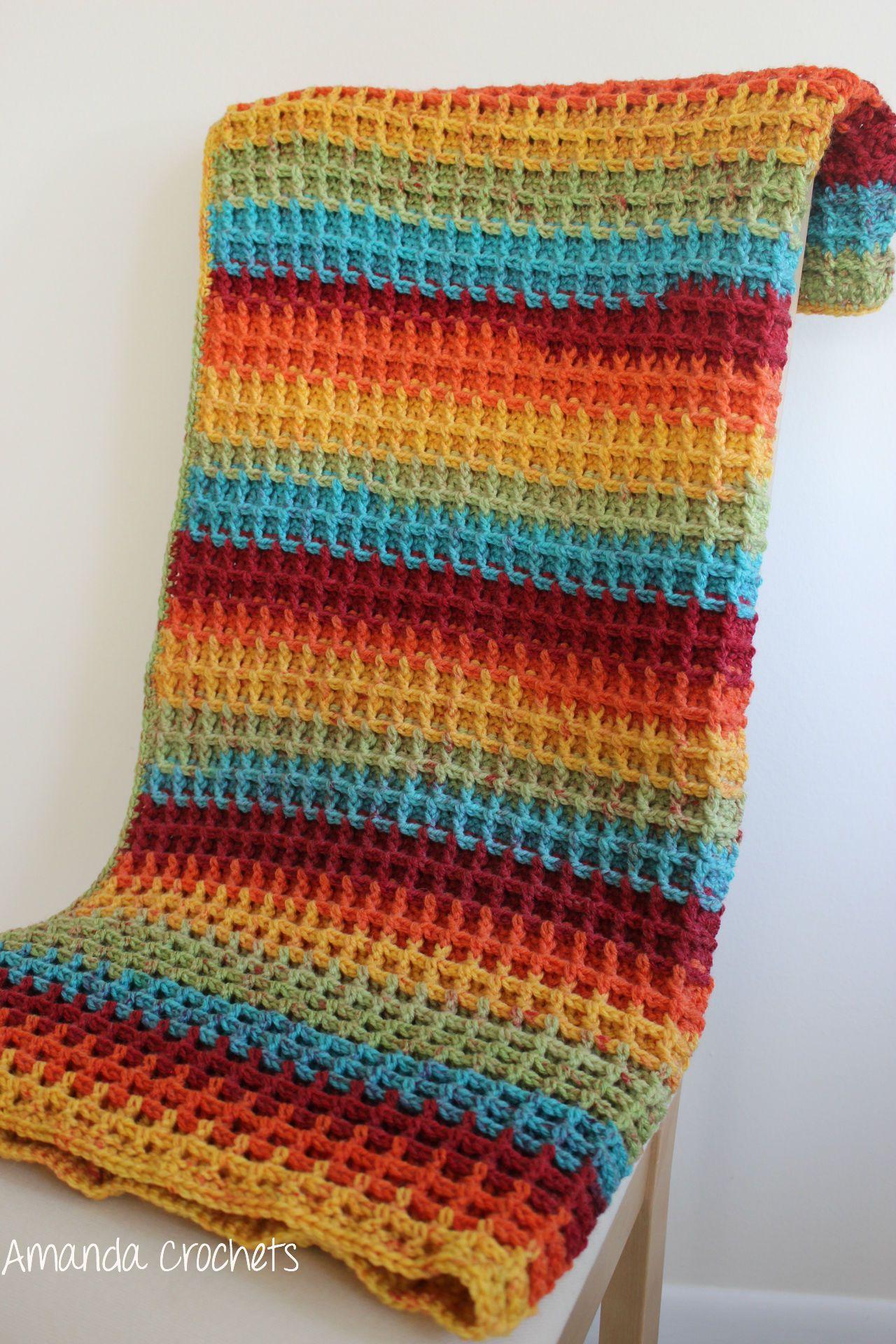 waffle stitch blanket | $knit | Pinterest | Manta afgana ...