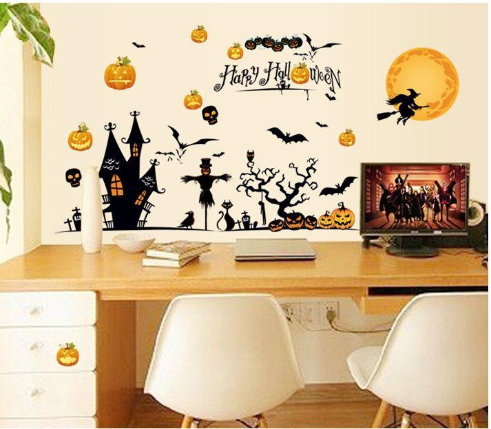 creative happy halloween pvc vinyl removable stickers self adhesive bedroom bathroom window kids nursery diy mural wall decals