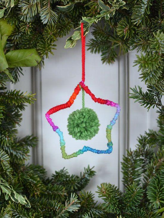 Kerst - Ster - knutselen met kinderen - DIY yarn star ornaments ~ holiday craft | small for big