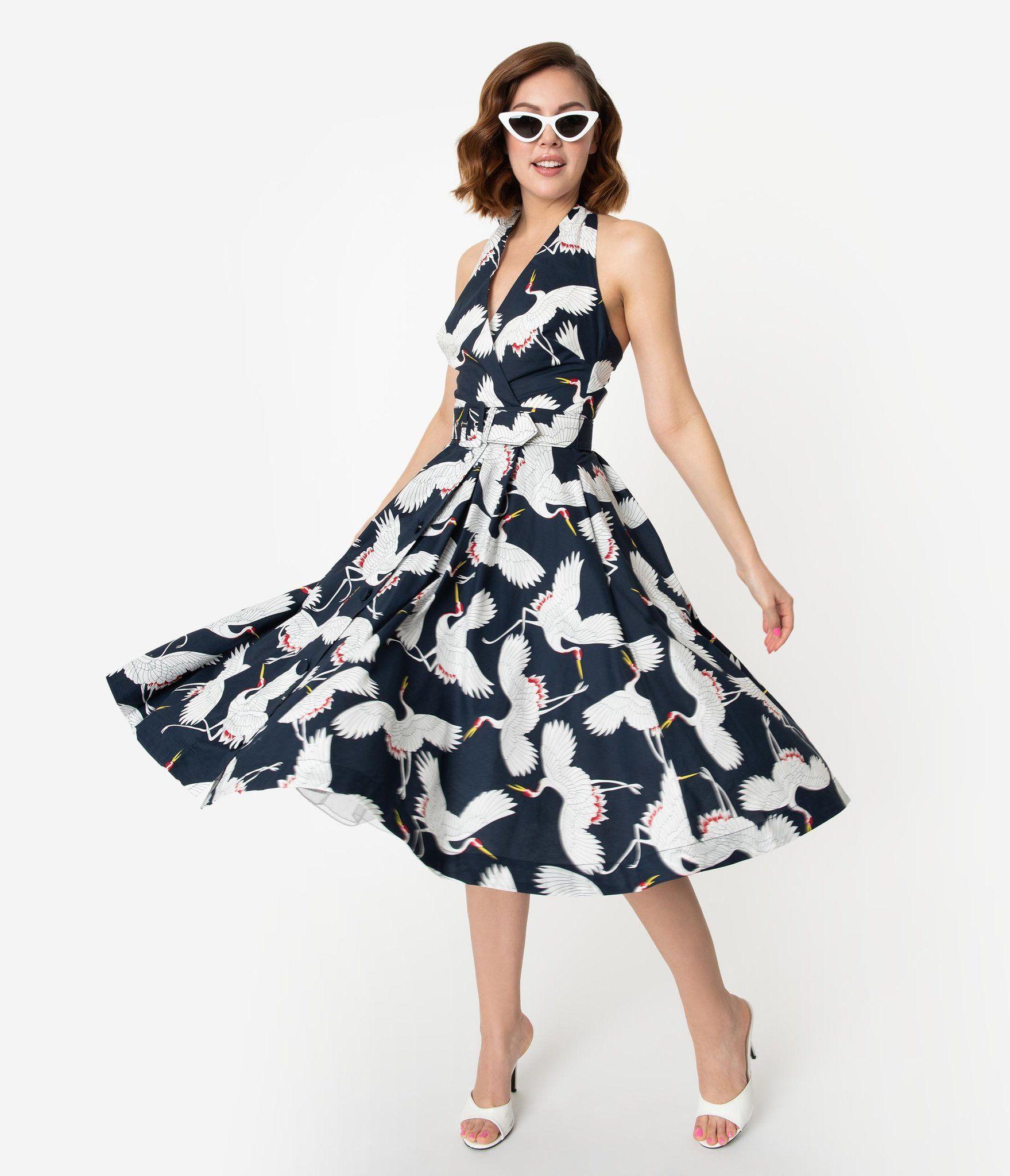 Unique Vintage Navy White Crane Print Halter Tarrytown Hostess Dress Hostess Dresses Dresses Unique Dresses