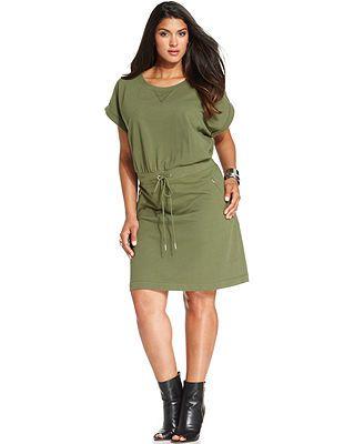 408e27f7c3f Spense Plus Size Drawstring Sweatshirt Dress