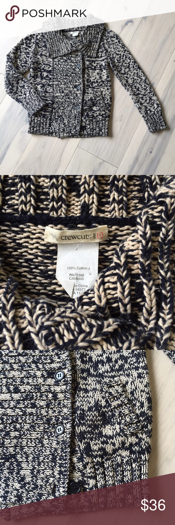 Crewcuts marled yarn thick unisex sweater | Front button, Size 10 ...