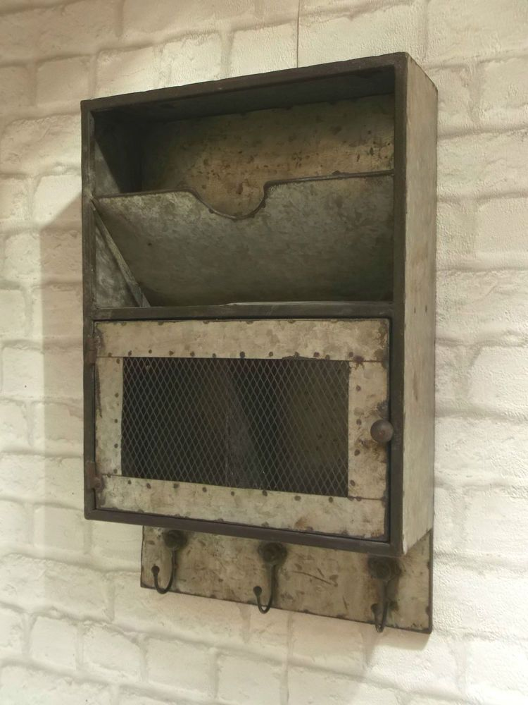 vintage industrial style metal wall letter rack key hooks storage unit cabinet