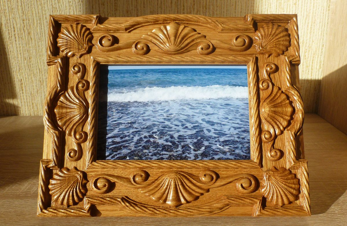 Carved photo frame 4x6 oak wood birthday gift mothers day