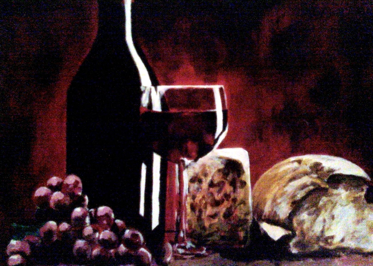 Bread And Wine Painting Wine Painting Artwork Painting Painting