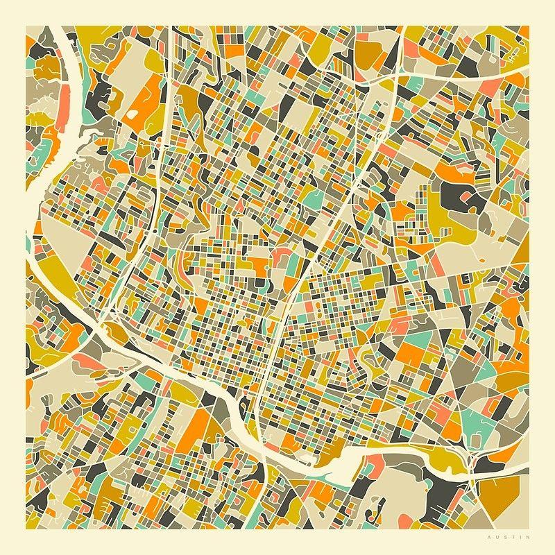 AUSTIN MAP\' Canvas Print by JazzberryBlue | MAPS | Map art, Map ...