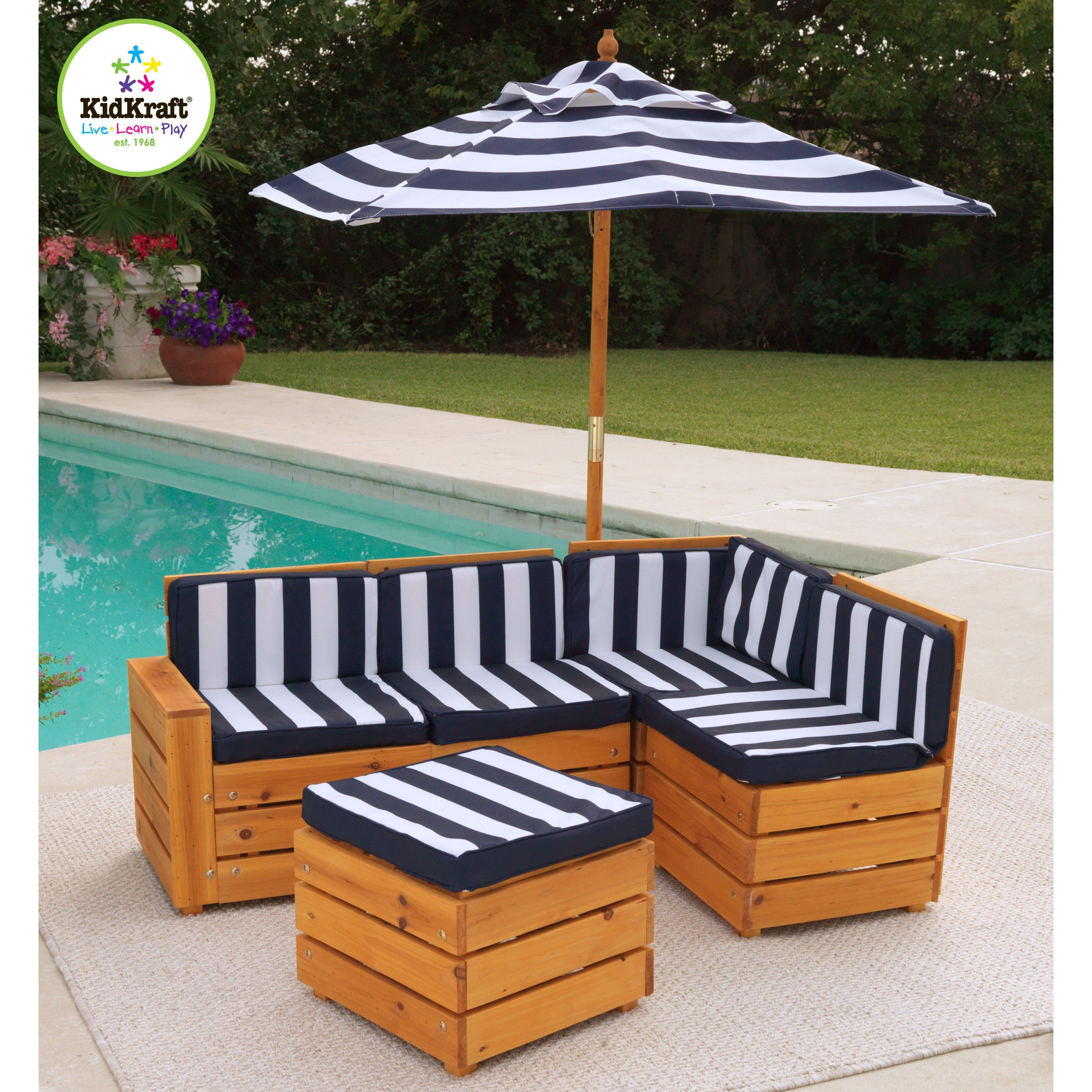Have To Have It Kidkraft Kids Outdoor Sectional Patio Set 182 99 Kids Outdoor Furniture Nautical Outdoor Furniture Outdoor Kids