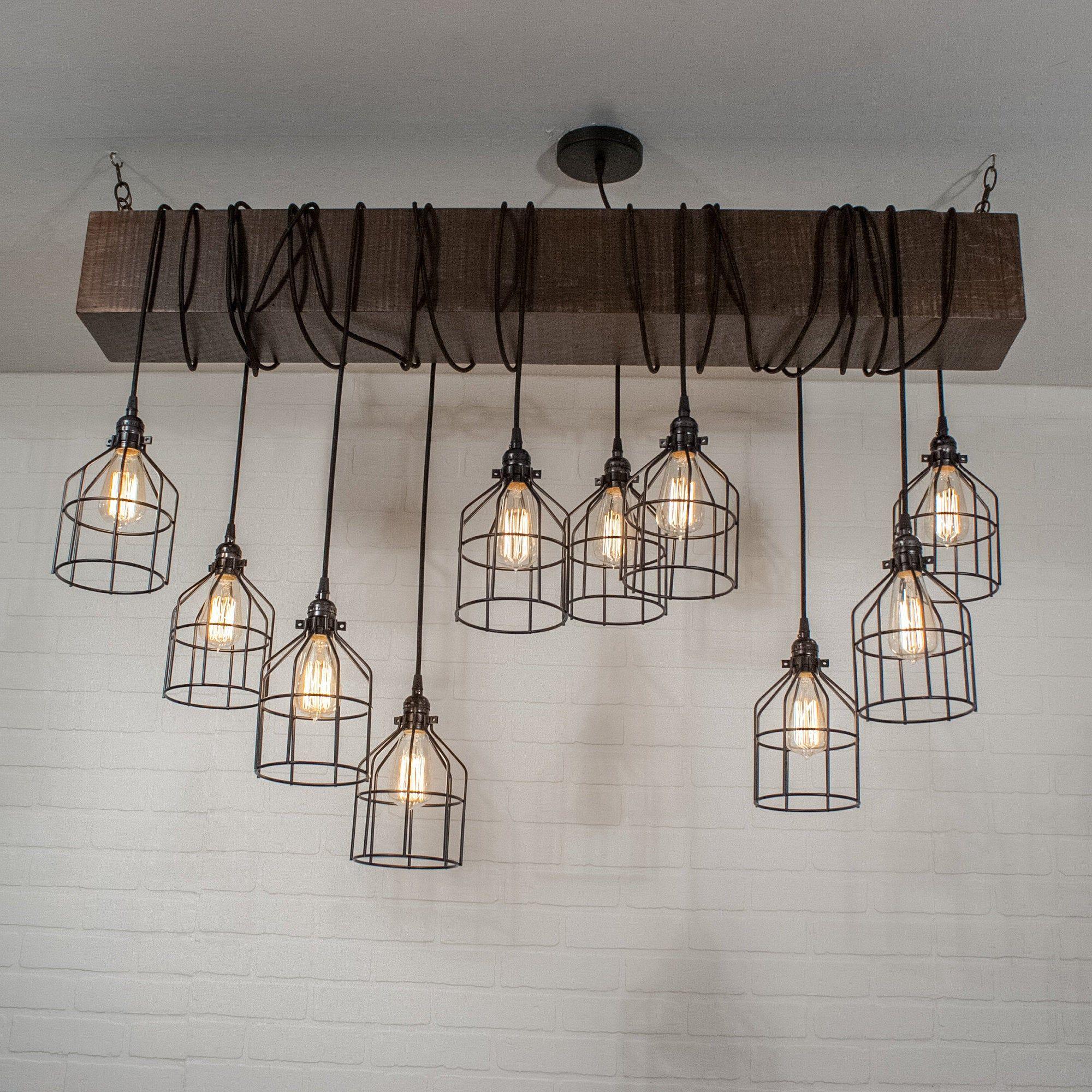Wood Beam Light Industrial Lighting Fixture 10 Pendant Etsy In 2020 Industrial Light Fixtures Farmhouse Kitchen