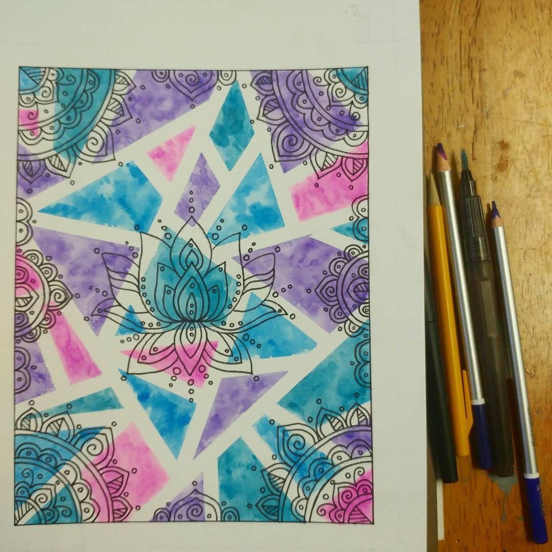 Watercolor Mandala Lotus Geometric Yes Sunday Art