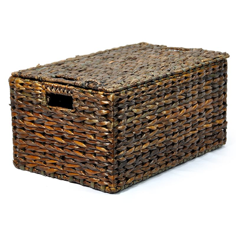 Audrey Mahogany Storage Basket with Removable Lid Small 22