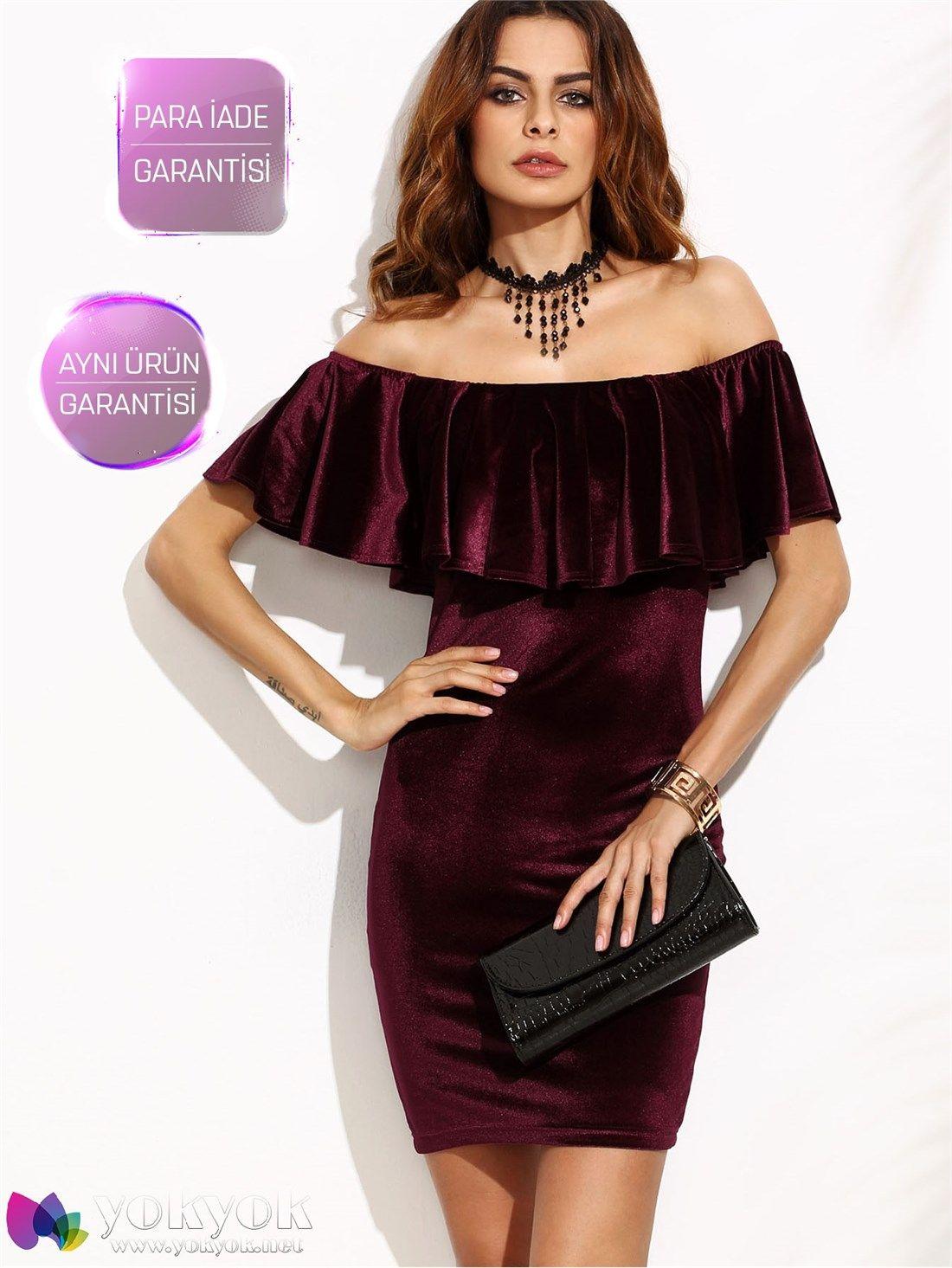 Bordo Düşük Omuz Kadife Elbise | Satın alınacak şeyler | Pinterest