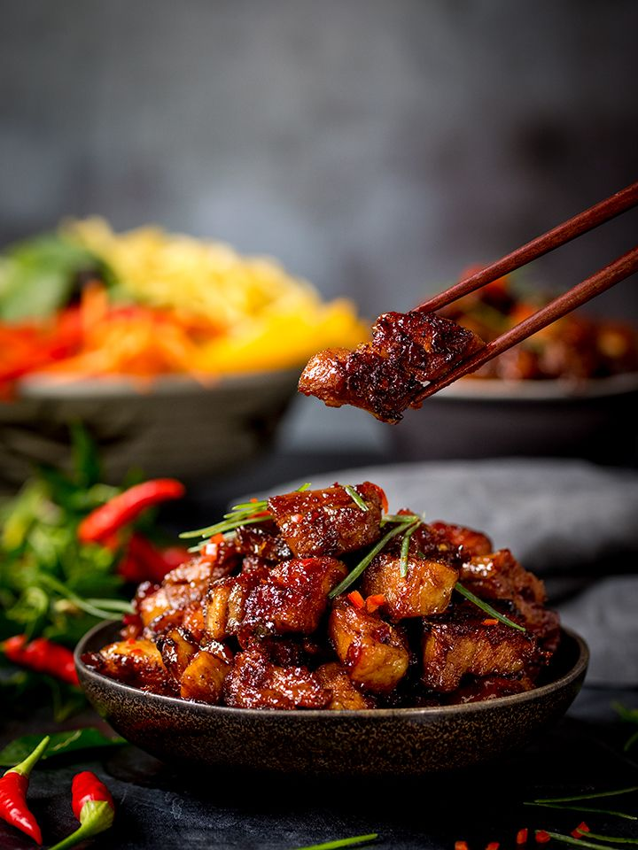 This Chinese Pork Belly Is Meltingly Tender With A Sweet Spicy Sticky Coating Check Out My 3