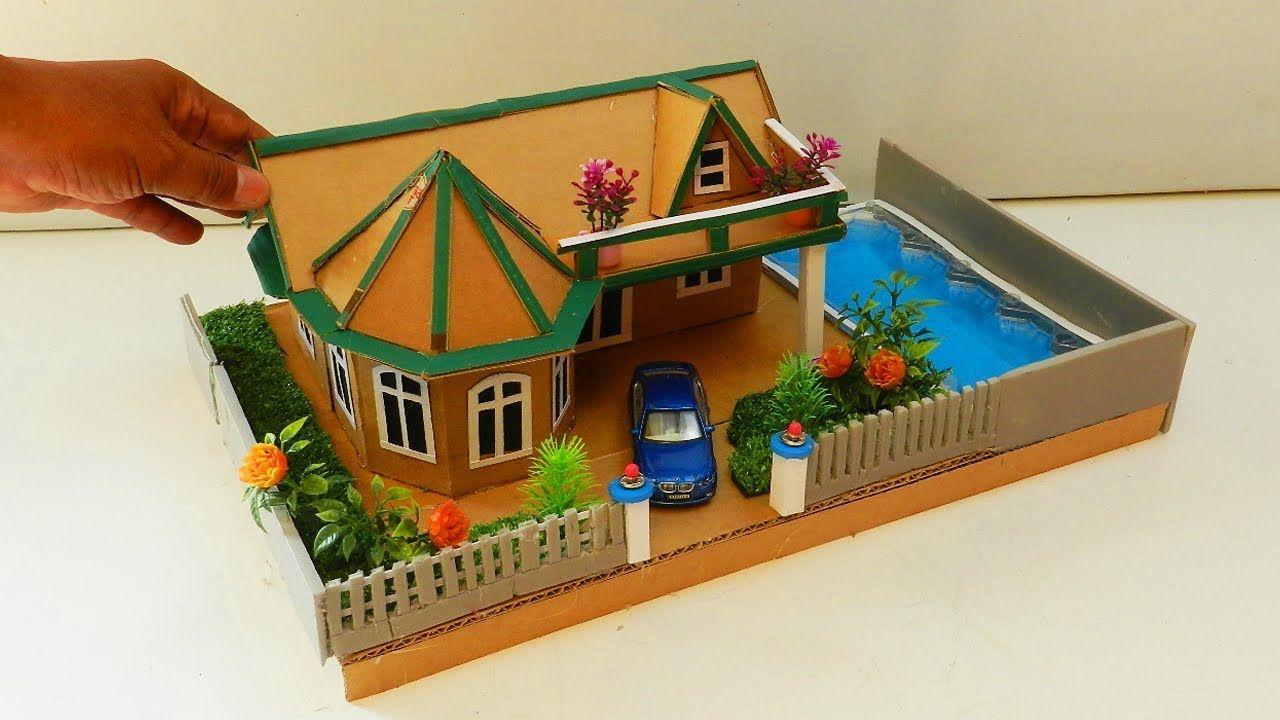 Cardboard House With Swimming Pool And Garden Diy Cardboard House Cardboard Crafts Miniature Diy