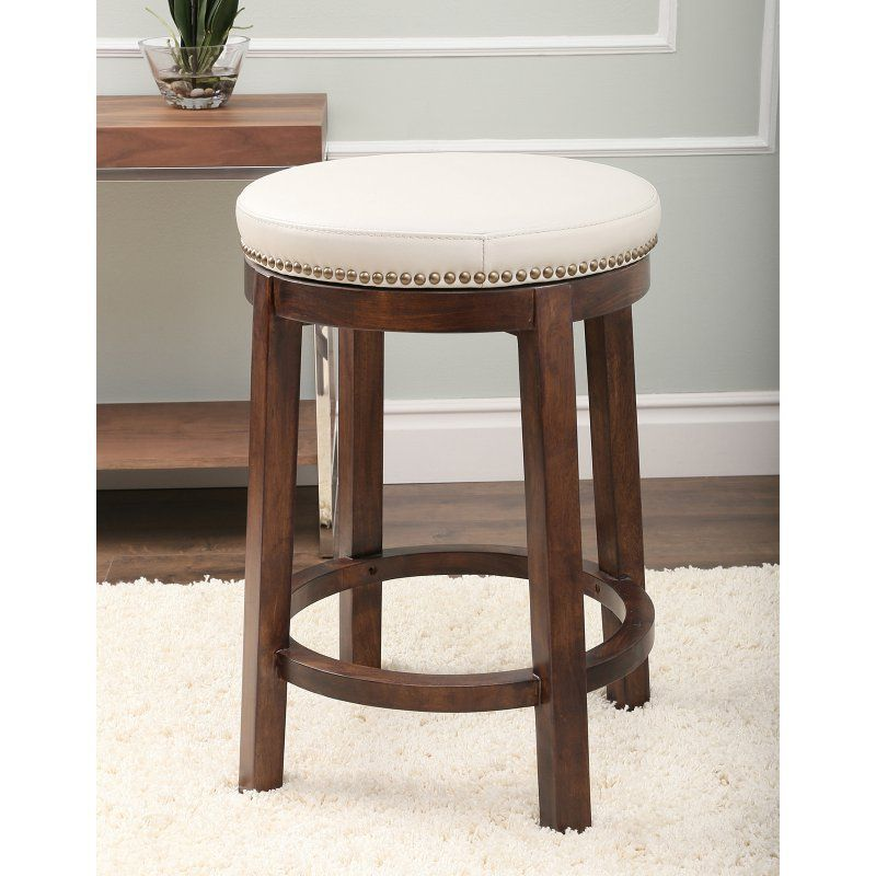abbyson living monica pedersen shawnee round swivel leather backless counter stool ivory leather mp