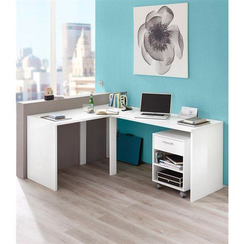 bureau d 39 angle 39 39 elleck 39 39 blanc brillant vue 1 bureau. Black Bedroom Furniture Sets. Home Design Ideas